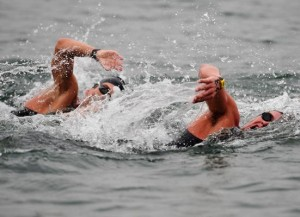 Aussie Ky Hurst (right) in the men's 10km open water swim.