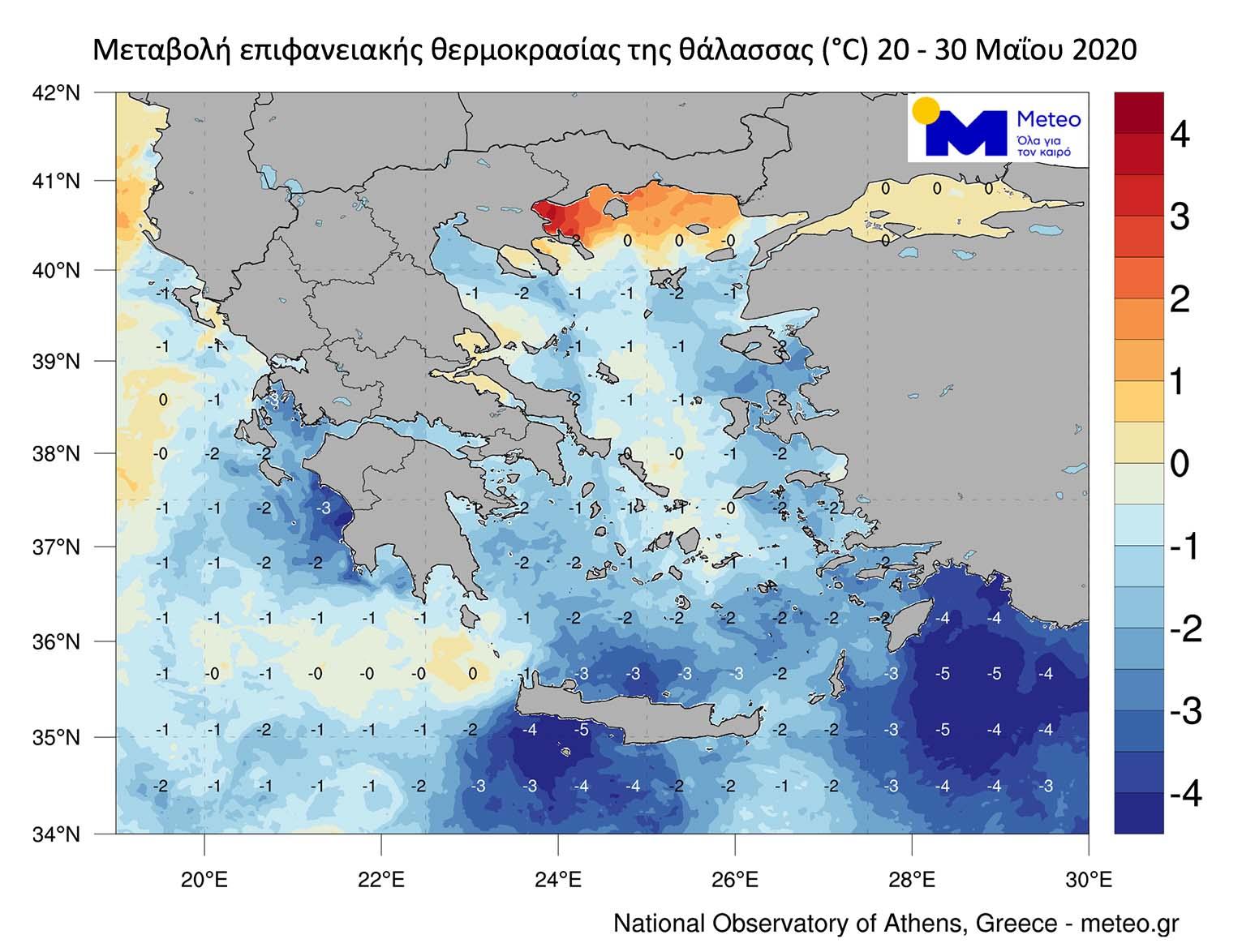Σημαντική μείωση της επιφανειακής θερμοκρασίας στις ελληνικές θάλασσες