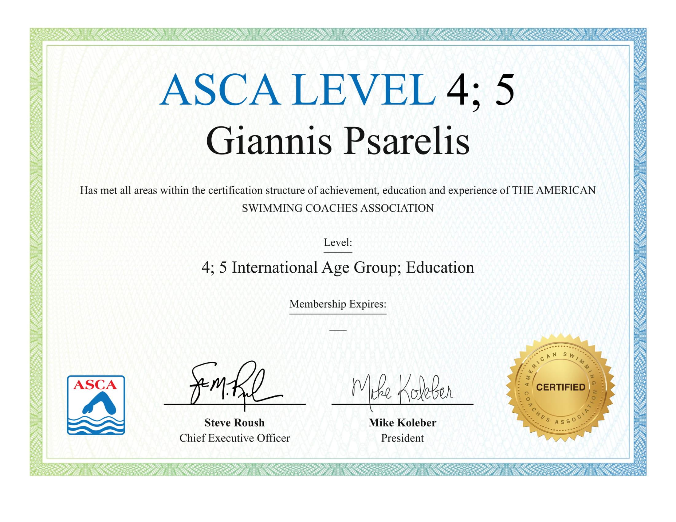 ASCA Certification